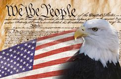 We the People. Constitution of America, We the People with bald eagle and American flag Stock Images