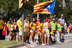 People converge on Barcelona to join rally demanding independenc Royalty Free Stock Image