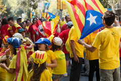 People converge at The National Day of Catalonia Royalty Free Stock Photos
