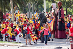 People  converge at  National Day of Catalonia Royalty Free Stock Images