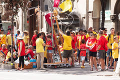 People  converge at  National Day of Catalonia in Barcelona Stock Photos