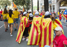 People converge at rally demanding independence for Catalonia Stock Photo