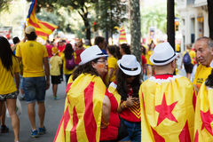 People converge at rally demanding independence for Catalonia Stock Photos