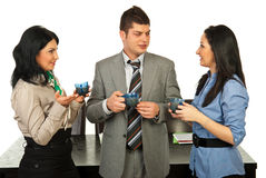 People conversation in coffee break. Business people having conversation at coffee break Royalty Free Stock Photo