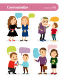 People conversations with speech bubbles Stock Images