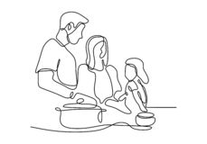 Free People Cooking One Line Drawing Continuous Design Minimalism Style. Vector Illustration Enjoying Hobby Royalty Free Stock Photo - 160458095