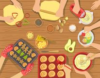 People Cooking Pastry And Other Food Together View From Above Royalty Free Stock Image