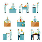 People Cooking Set Stock Images
