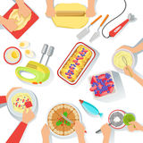 People Cooking Sweet Pastry Together View From Above, Food Preparation Class Process. Vector Illustration With Only Hands Visible and Different Kitchen Royalty Free Stock Images