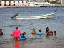 People Cooling off in Acapulco Stock Photography