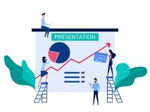 People cooperation prepare business presentation and online training increase sales and skills. Analysis company information. Concept. Cartoon Vector royalty free illustration