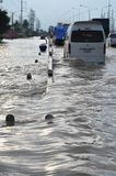 People are coping with the flood in their town of Pathum Thani, Thailand, in October 2011.  Royalty Free Stock Image