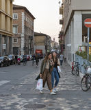 People on Corso d`Augusto Street in Rimini, Italy. Royalty Free Stock Image