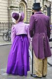 People costumed in the streets of Bath for the Jane Austen festival Royalty Free Stock Photo