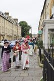 People costumed in the streets of Bath for the Jane Austen festival Royalty Free Stock Photography