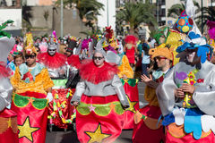 People in costumes celebrating carnival Stock Images