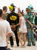 People  in costumes at Gay pride parade in Sitges Stock Images