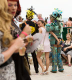 People  in costumes at Gay pride parade in Sitges Stock Photos