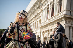 People in costumes and masks on Carnival in Venice Royalty Free Stock Photos