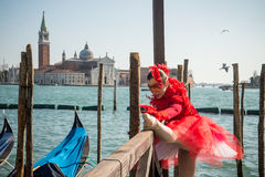 People in costumes and masks on Carnival in Venice Royalty Free Stock Images