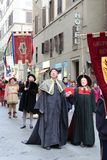 Italy, Florence. December 02, 2017 Costumed procession near Santa Maria del Fiore. People in the costumes of the Middle Ages - a procession through the streets Stock Images