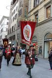 Italy, Florence. December 02, 2017 Costumed procession near Santa Maria del Fiore. People in the costumes of the Middle Ages - a procession through the streets Stock Photos