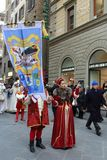Italy, Florence. December 02, 2017 Costumed procession near Santa Maria del Fiore. People in the costumes of the Middle Ages - a procession through the streets Royalty Free Stock Photography