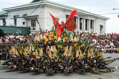 People on costumes at the parade of Ati-Atihan festival Stock Images