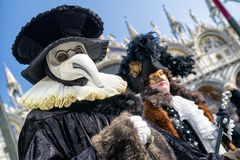 People in costumes at Venice carneval 2018, italiy royalty free stock image