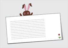 Rabbit with a blank sheet Royalty Free Stock Photography