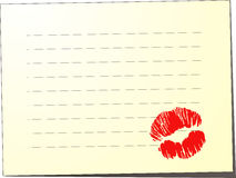 Blank note with kiss Royalty Free Stock Photos