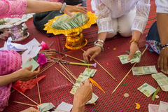 People are counting twenty baht thailand banknote Royalty Free Stock Photography