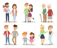 People couple relaxed cartoon vector illustration set. Royalty Free Stock Photos