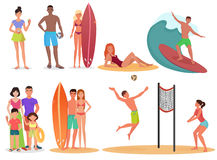 People and couples on active sport vacation beach collection. Summer holidays set. Stock Image