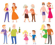 People couples, men, women and old men with boys love set of characters flat vector illustration. Royalty Free Stock Images