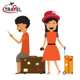 People and couples travelling and having a rest with logo, trave Royalty Free Stock Image