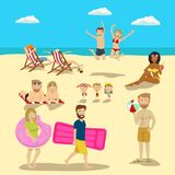 People and couples on vacation beach big set. Summer travel holidays and beach active sport activities Royalty Free Stock Photos