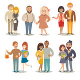 People and couples vector illustration. Family couples set. People cartoon style Royalty Free Stock Images