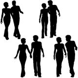 People Couples Walk Love. Collection of 4 silhouettes of young couples - men and women - walking together. Arm in arm, holding hands vector illustration