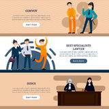 People In Court Horizontal Banners. With defendant police officer lawyers and judges vector illustration Stock Image