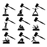 People in Court. Set of humorous vector cartoons of culprits behaving in many different ways Royalty Free Stock Photos
