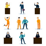 People In Court Set. With judges lawyer defendants convoy witnesses and police officers isolated vector illustration Stock Images