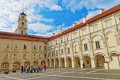 People at Courtyard and Observatory tower of Vilnius University stock images