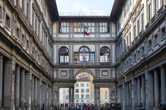 People on courtyard of Uffizi Gallery. FLORENCE, ITALY - NOVEMBER 6, 2016: people on yard Uffizi Gallery. Uffizi Gallery is one of the oldest museums in Europe Royalty Free Stock Photo