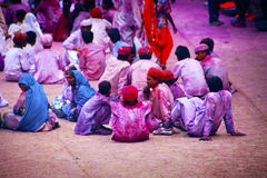 People covered in paint on Holi Stock Photo
