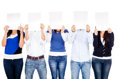 People covering face with banners Stock Images