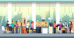 People in coworking office. Creative coworkers in casual wear in open space interior. Vector illustration. Office communication coworking, coworker workplace vector illustration