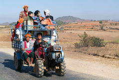 People crammed on a tractor in the countryside of Pindaya on Mya Royalty Free Stock Image