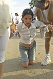 People crawling in religious ceremony at San Lazaro Catholic Church in El Rincon, Cuba, site of annual Procession of San Lazaro fe Royalty Free Stock Photography