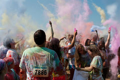 People Create Color Explosion At Bubble Palooza Event Royalty Free Stock Image